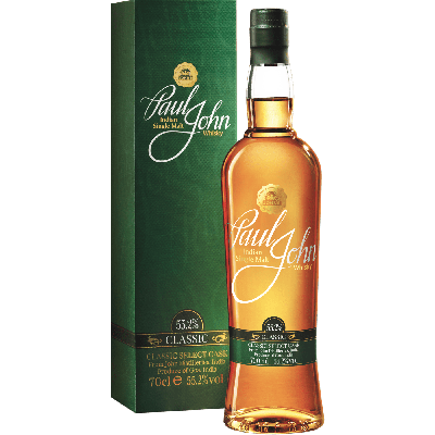 """Classic Cask Select"" Single Malt Whisky Indiano (non torbato) con astuccio - Paul John Distillery"